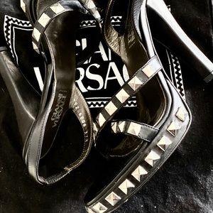 Leather Studded Versace Couture High Heels | Kiana